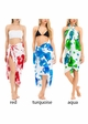 White Cotton Sarong with Hibiscus Flowers inset 1