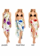 White Cotton Sarong with Multi Color Hibiscus Flower inset 1