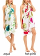 White Cotton Sarong with Multi Color Hibiscus Flower inset 2