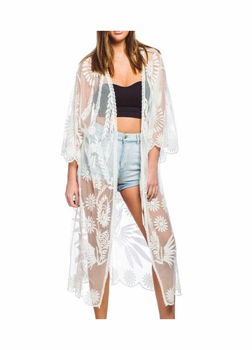 White Lace Kimono Beach Cover-Up