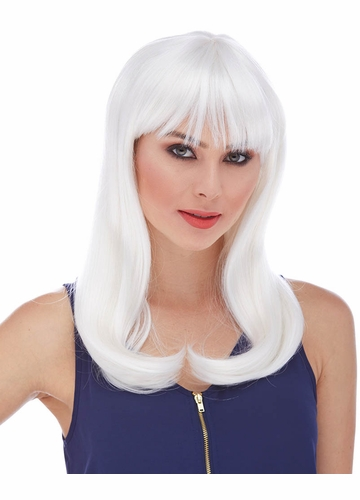 White Long Straight Wig with Bangs Classy
