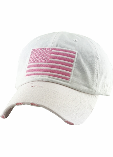 White US Flag Distressed Tactical Operator Baseball Hat