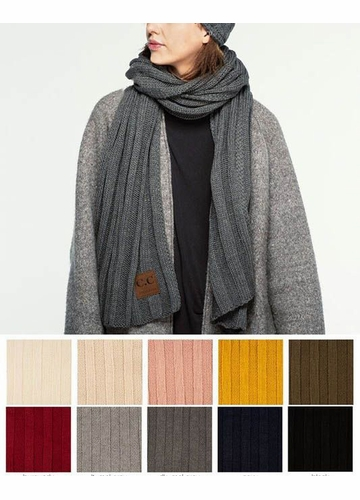 Wide Ribbed CC Scarf