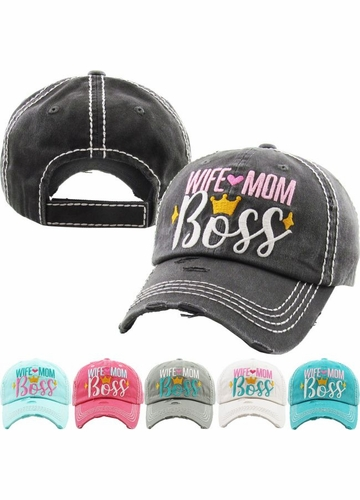 WIFE MOM BOSS Vintage Ballcap