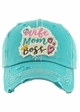 WIFE MOM BOSS Washed Vintage Baseball Cap inset 1