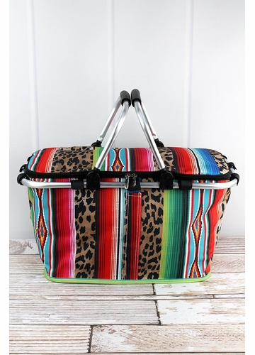 Wild Serape with Black Trim Collapsible Insulated Market Basket with Lid