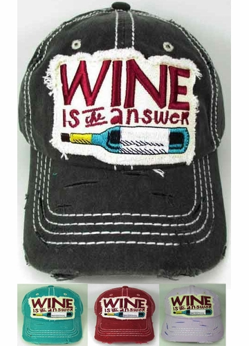 Wine is The Answer Baseball Hat