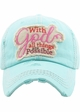 With God All Things Are Possible Washed Vintage Ballcap inset 2