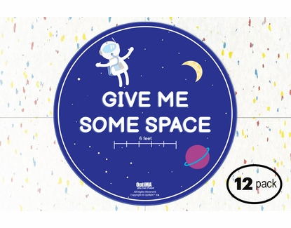 "12-Pack Astronaut Social Distancing Floor Signs for Kids, 14.5"" Circles"