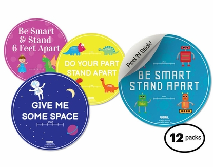 """12-Pack Astronaut Social Distancing Floor Signs for Kids, 14.5"""" Circles"""