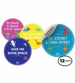 "12-Pack Social Distancing Floor Signs, for Kids 14.5"" Circles"