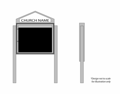 """Cathedral Design Church Letter Boards 43"""" Wide x 33"""" Tall"""