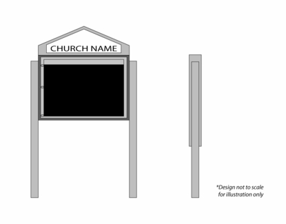 """Cathedral Design Church Letter Boards 47"""" Wide x 36"""" Tall"""