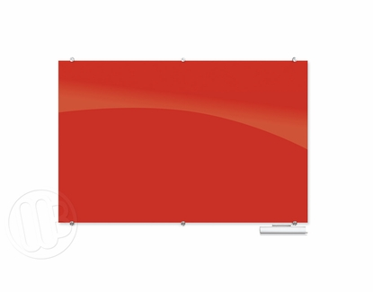 """Red Magnetic Glass Dry Erase Marker Boards 47.24"""" H x 70.87"""" W"""