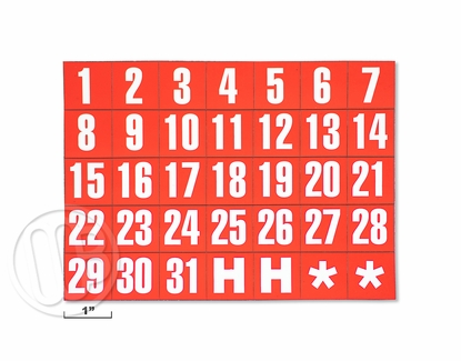 Date Magnets White on Red Background