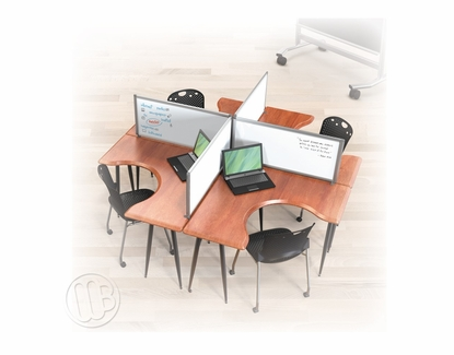 "Desktop Privacy Divider 17""H x 66""W Stone/Whiteboard"