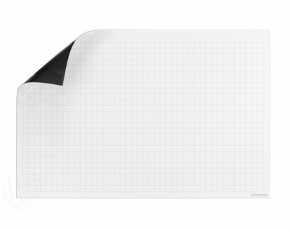 """Dry Erase Ghost Grid Magnet 30"""" Tall x 45.25"""" Wide with 1"""" x 2"""" Grid"""