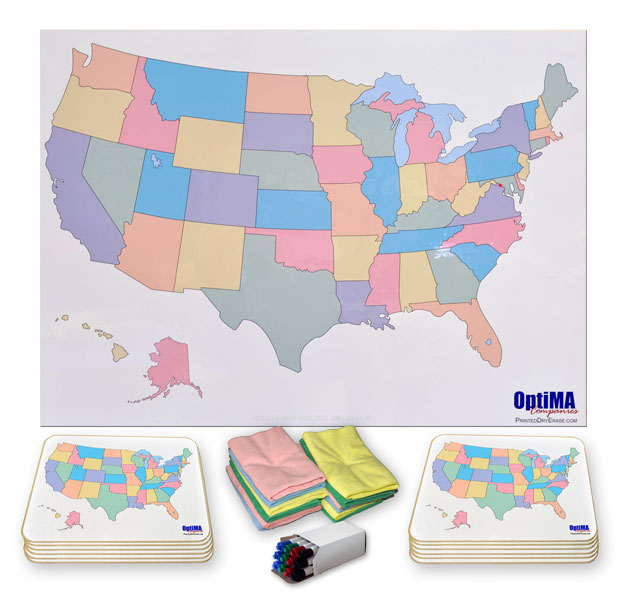 Printed Dry Erase USA Maps