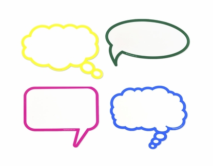 Dry Erase Speech / Thought Bubbles Set of Mixed Colors
