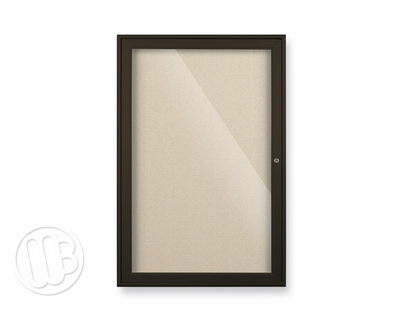 """Enclosed Bulletin Board Colored Trim & Fabric 36"""" H x 72"""" W 3 Doors Champagne"""
