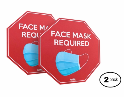 """Face Mask Required Wall or Floor Sign, 6"""" x 6"""" (2 Pack)"""