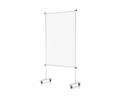 """Floor Partition Stand with Clear Vinyl, Standard or Mobile Base 36"""" W x 72"""" H, With Wheels"""
