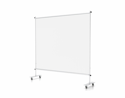 """Floor Partition Stand with Clear Vinyl, Standard or Mobile Base 72"""" W x 72"""" H, With Wheels"""
