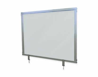 """Frosted Attachable Desktop Divider with Aluminum Frame, 24""""H x 59""""W"""