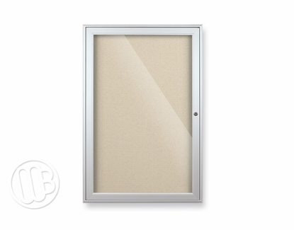"""Glass Enclosed Fabric Bulletin Board 48"""" H x 72"""" W 3 Doors Champagne"""