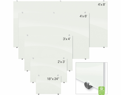 Magnetic Glass Dry Erase Boards 3' Tall x 4' W