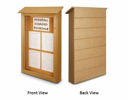 """Message Center with Single Door 42"""" W x 26"""" T x 5.5"""" D Weathered Wood"""