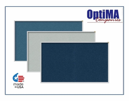 More Vinyl Covered Bulletin Boards with Aluminum Trim 4' Tall x 6' W Navy