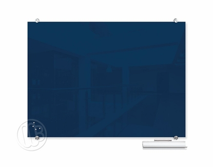 """Navy Magnetic Glass Dry Erase Marker Boards 35.43"""" H x 47.24"""" W"""