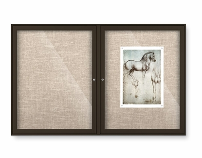 """Outdoor Enclosed Bulletin Board Colored Trim Fabric Tack 36"""" Tall x 48"""" W 2 Doors Champagne"""