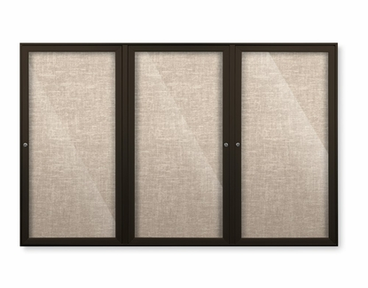 """Outdoor Enclosed Bulletin Board Colored Trim Fabric Tack 48"""" Tall x 96"""" W 3 Doors Cotton"""