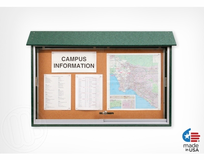 """Outdoor Message Center 45"""" W x 36"""" T x 5.5"""" D Weathered Wood"""