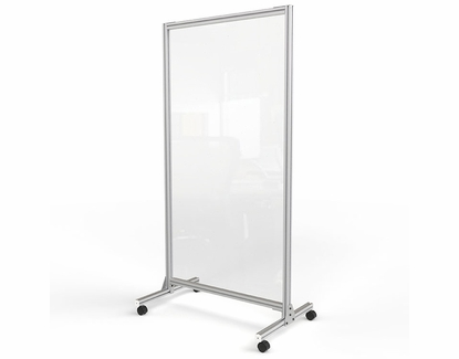 """Plastic Mobile Divider with Aluminum Frame, 74"""" H x 38"""" W"""