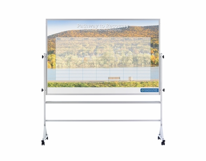 Printed Portable Whiteboard 3.5' Tall x 5' W / Print 2 Sides Both Up
