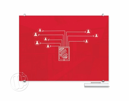 """Red Magnetic Glass Dry Erase Marker Boards 35.43"""" H x 47.24"""" W"""