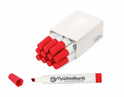 Single Color Box Chisel Tip Dry Erase Markers Red