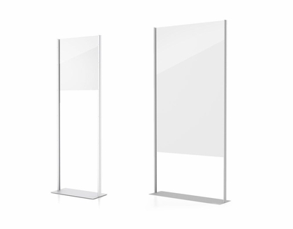 "Social Distancing Barrier Stand, 24"" x 72"" Silver"