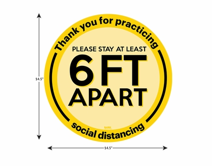 """Social Distancing Floor Sign, Please Stay 6ft Apart 14.5"""" x 14.5"""" - 10 Pack"""