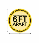 "Social Distancing Floor Sign, Please Stay 6ft Apart 14.5"" x 14.5"" - 10 Pack"