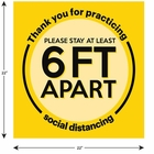 """Social Distancing Floor Sign, Please Stay 6ft Apart 22"""" x 22"""" - 10 Pack"""