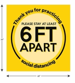 "Social Distancing Floor Sign, Please Stay 6ft Apart 22"" x 22"" - 10 Pack"