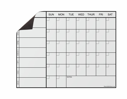 Weekly Magnetic Calendar - Black Text on White Header