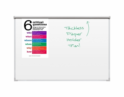 Whiteboard with Tackless Paper Holder 4' Tall x 4' W