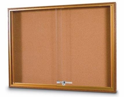 Wood Trimmed Sliding Glass Bulletin Boards Cobalt Blue