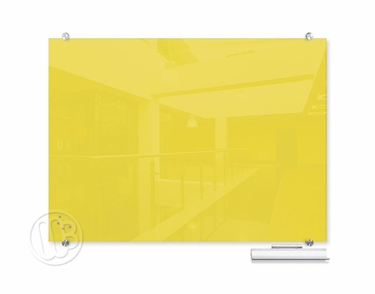 """Yellow Magnetic Glass Dry Erase Marker Boards 47.24"""" H x 70.87"""" W"""
