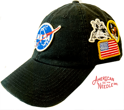 Four patch NASA hat in black